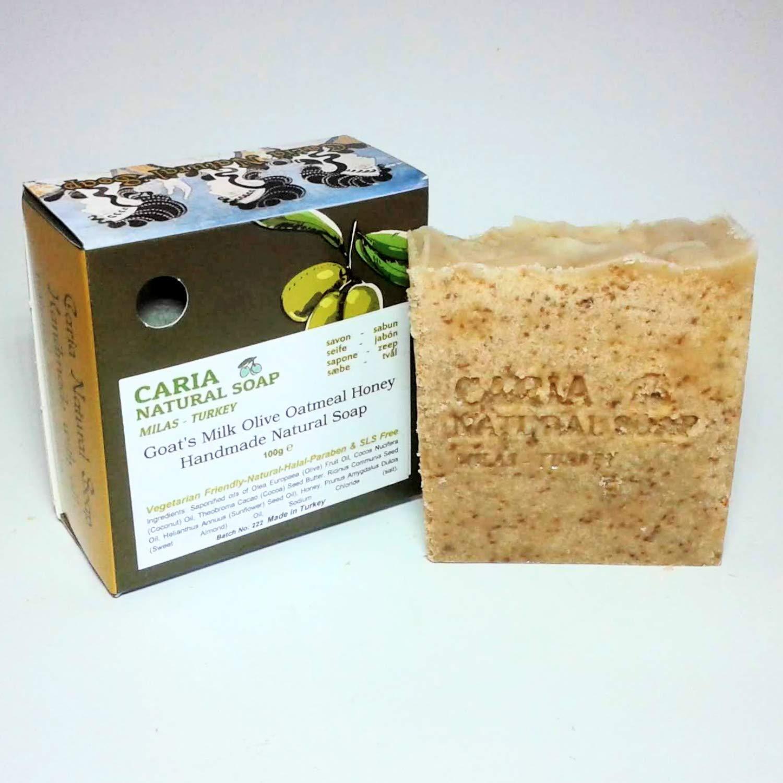 Caria Jabón natural hecho a mano hecho a mano con leche de cabra y miel de avena 100 gramos: Amazon.es: Belleza