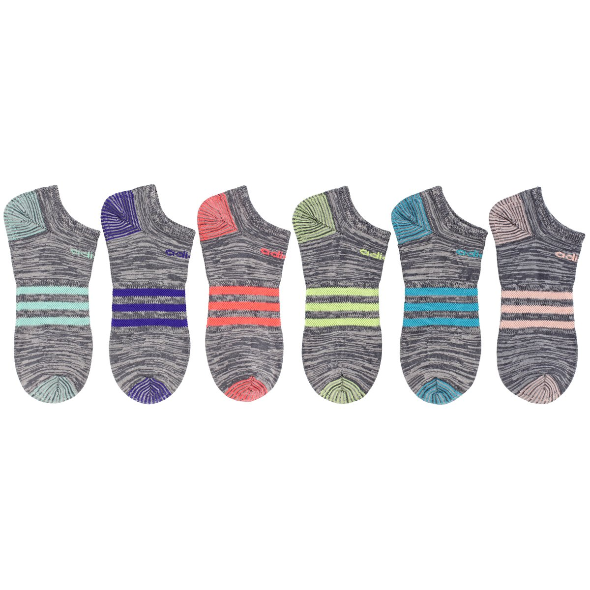adidas Women's Superlite 6-Pack No Show Socks, Onix Clear Onix Space/Easy Green/Energy Ink Blue/Lucid Red/Frozen Yellow/Energy Blue/Haze Coral,Women's Sock size (5-10) by adidas (Image #5)