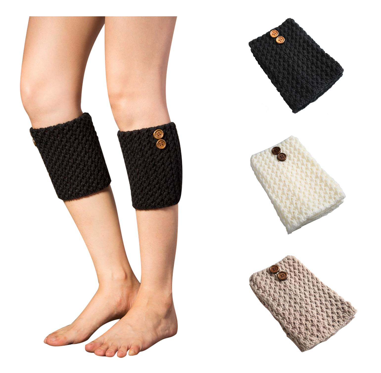 Bestjybt 3 Pairs Womens Short Boots Socks Crochet Knitted Boot Cuffs Leg Warmers Socks (3 Pairs-Style 05)