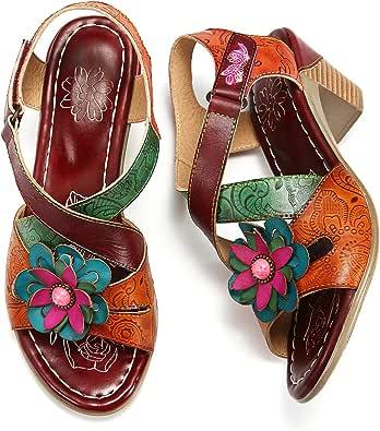 gracosy Damer Mary Jane pumps, läderskor med klack 2019 färgglada vår sommar sandaler vintage party skor mönster ankelremmar tofflor Slingback snygga sandaler brun blå multiway