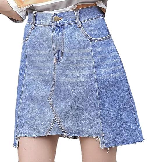... new list ad7a9 025b2 Conffetti Womens Asymmetric Denim Washed Plus Size  Cut Off A Line Patch ... 2ae3988d7