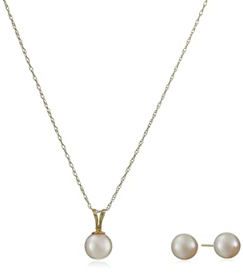 Amazon 14k yellow gold akoya cultured pearl pendant necklace 14k yellow gold akoya cultured pearl pendant necklace and stud earrings jewelry set aloadofball Choice Image