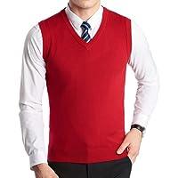 FULIER Gilet senza maniche con scollo a V invernale da uomo Classic Business Gilet con maniche a maglia da uomo Gentleman Gilet in maglione Cardigan Canotte