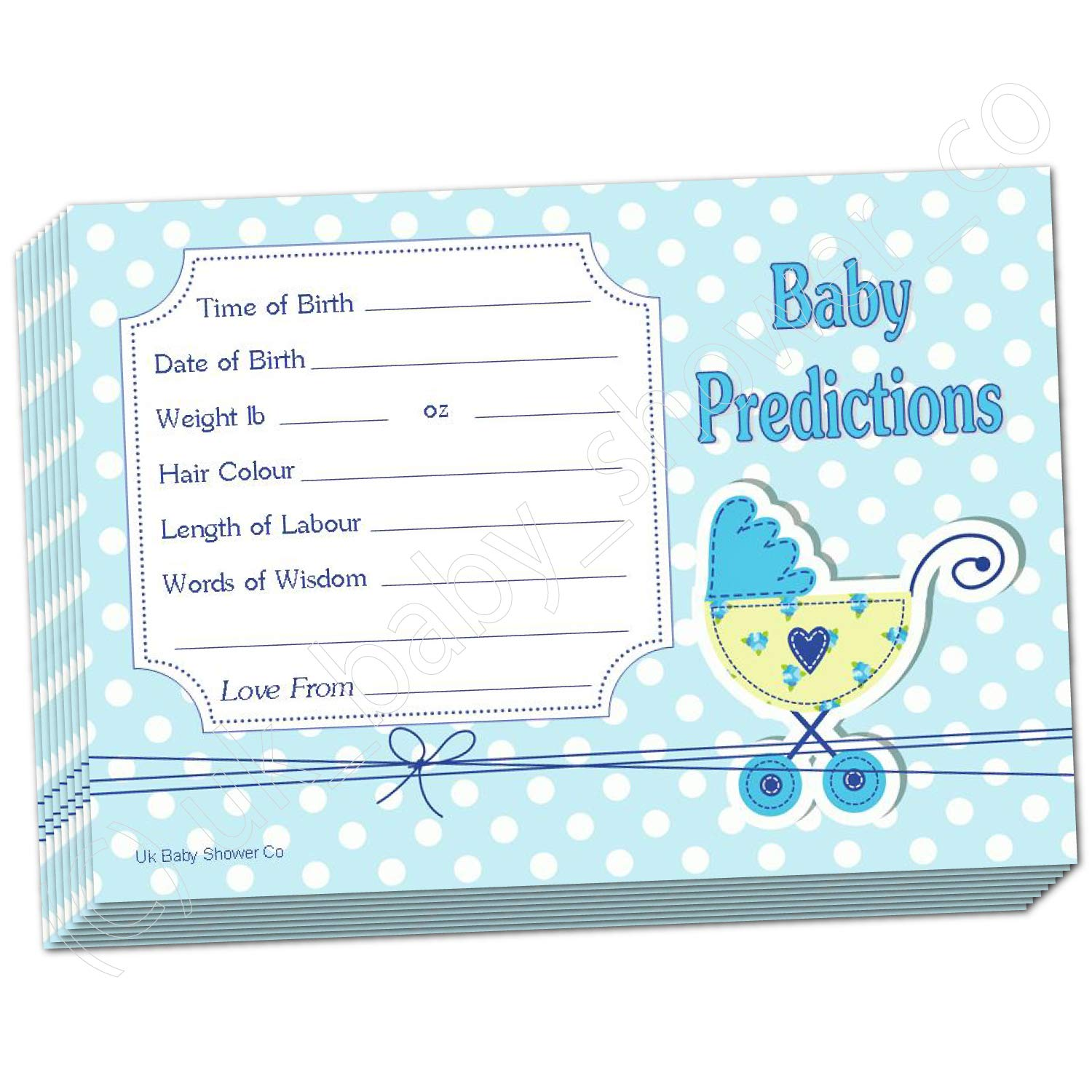 Baby Shower Prediction Cards - Polka DOTS_Blue (30 Cards) Uk Baby Shower Co Ltd 10276