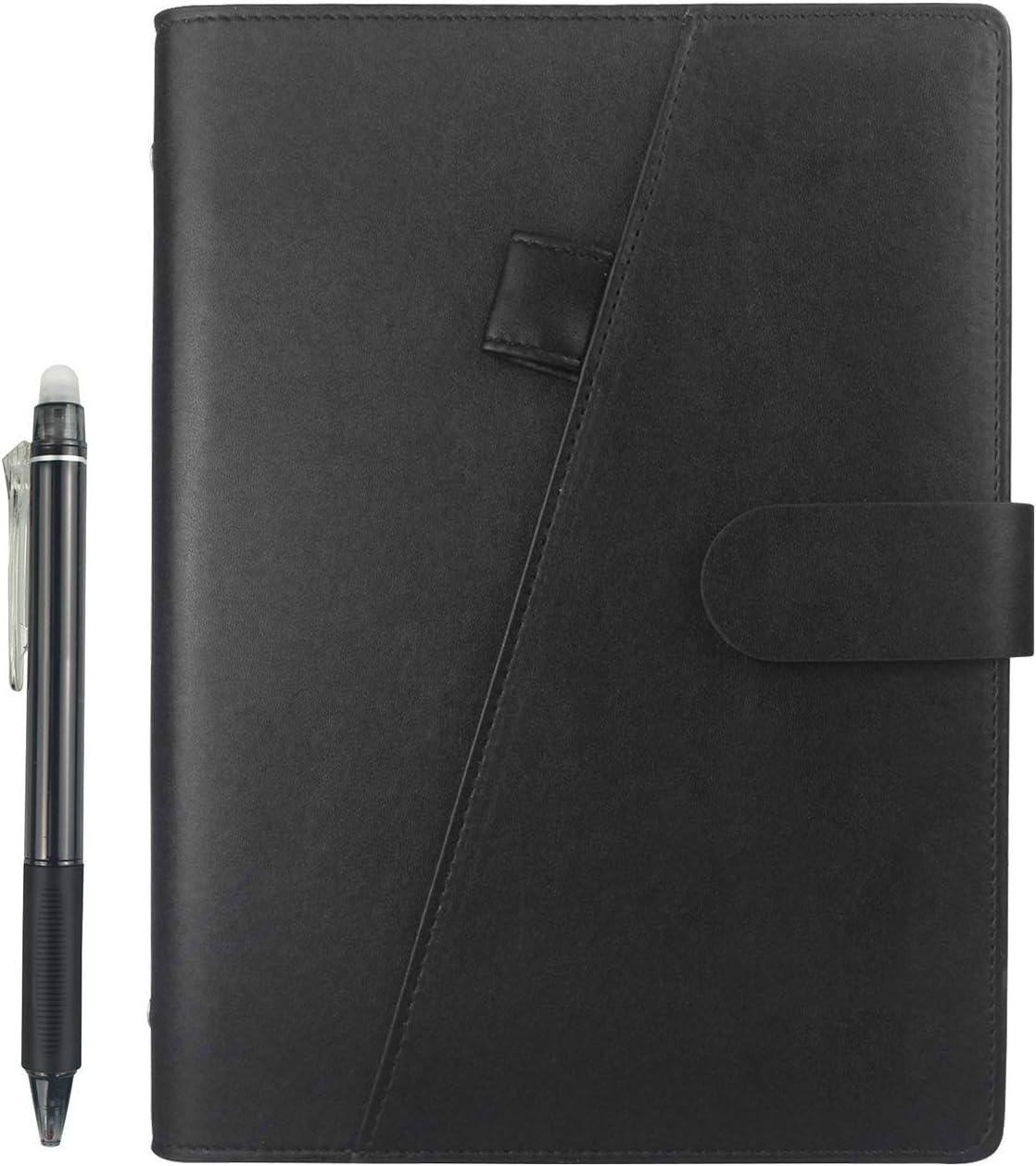 HOMESTEC Cuaderno Inteligente Reutilizable | Tamaño A5 | Hojas borrables y adaptadas para escaneo a PDF mediante APP | Incluye Boli y Marcadores Adhesivos (Cuero artificial) (Negro)