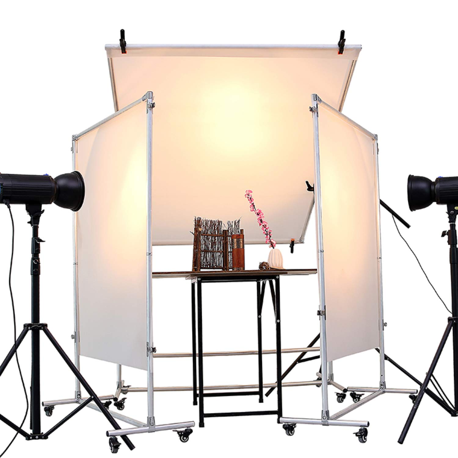 Snow Diamond Photo Studio Free-Standing and Removable Lighting Diffuser and Reflector Flat Panel with Universal Wheel,for Professional Portrait Photography and Product Advertising Photography by SNOW DIAMOND