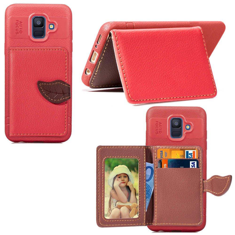 DAMONDY Samsung Galaxy A6 2018 Case, Luxury Leaf Wallet Purse Card Holders Design Cover Soft Bumper Shockproof Flip Leather Kickstand Case for Samsung Galaxy A6 2018-black