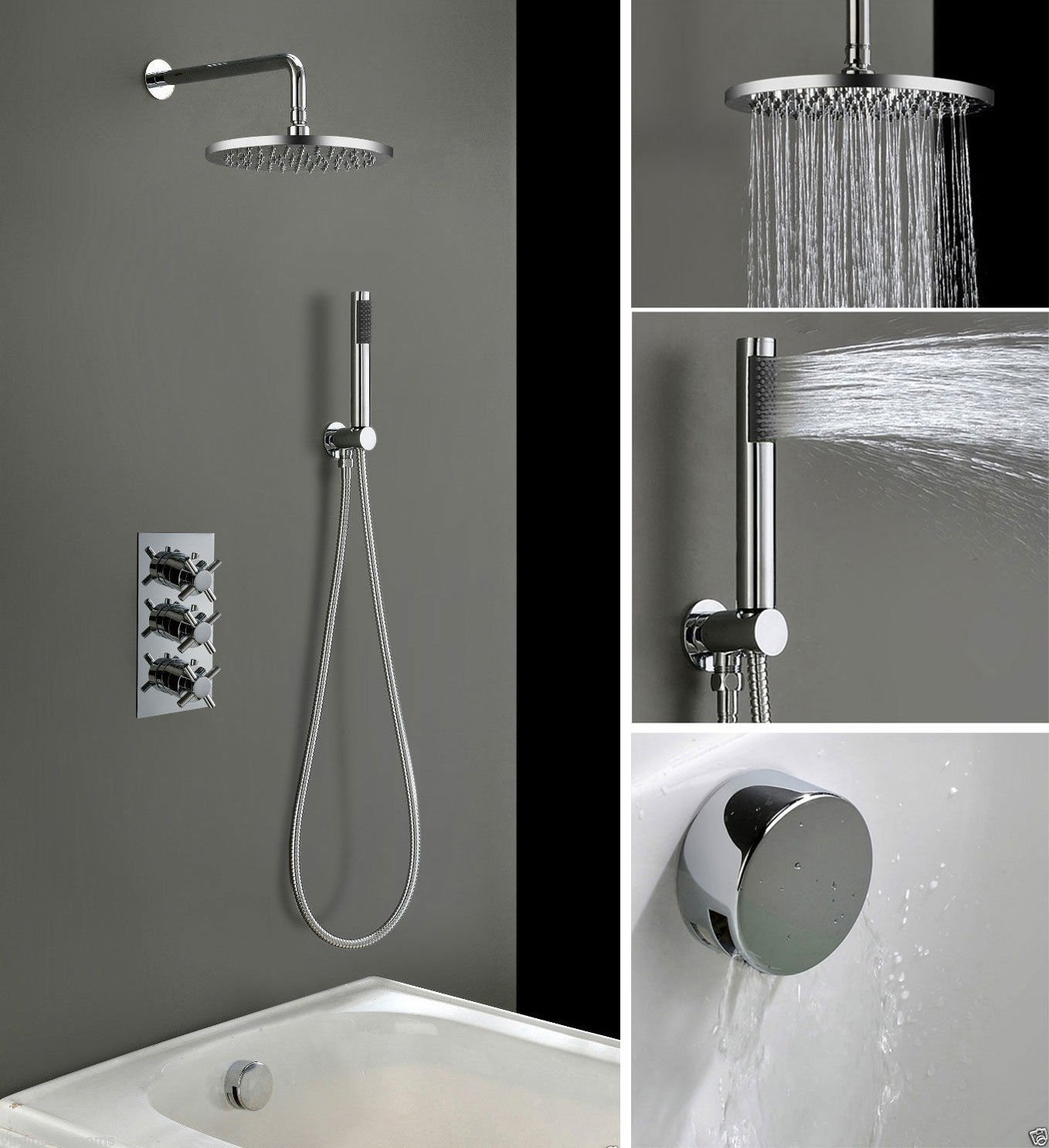 3 DIAL 3 WAY CROSS CONCEALED THERMOSTATIC MIXER VALVE HAND HELD BATH ...