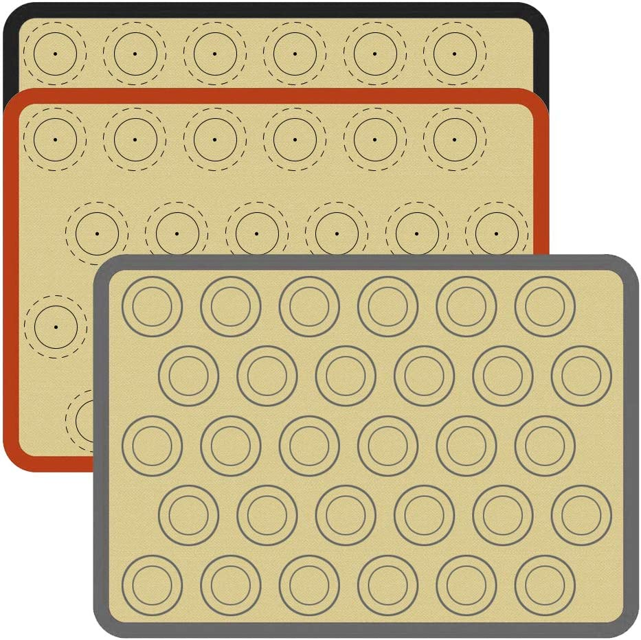 Silicone Baking Mat Kits 16.5 x 11.5 Inch Two Half Non Stick Sheet Mat Liner Sheets Bakeware for Making Cookies, Macarons, Bread, Pastry, Using Ovens (3 pack, Macarons 24+24+30)
