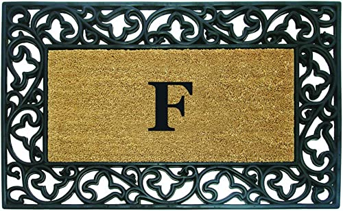 Nedia Home Acanthus Border with Rubber Coir Doormat, 30 by 48-Inch, Monogrammed F