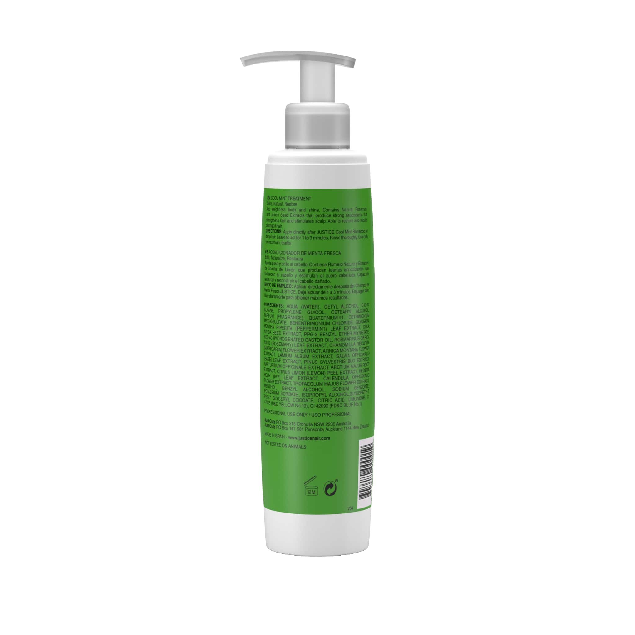 Cool Mint Conditioner Rejuvenate & Moisturize Naturally   Deep Conditioning Treatment Repairs Damaged Hair   Sooth Scalp, Stimulate Growth, Add Shine, Body, Volume/JUSTICE Professional 250ml 8.5oz by Justice Professional Haircare (Image #2)