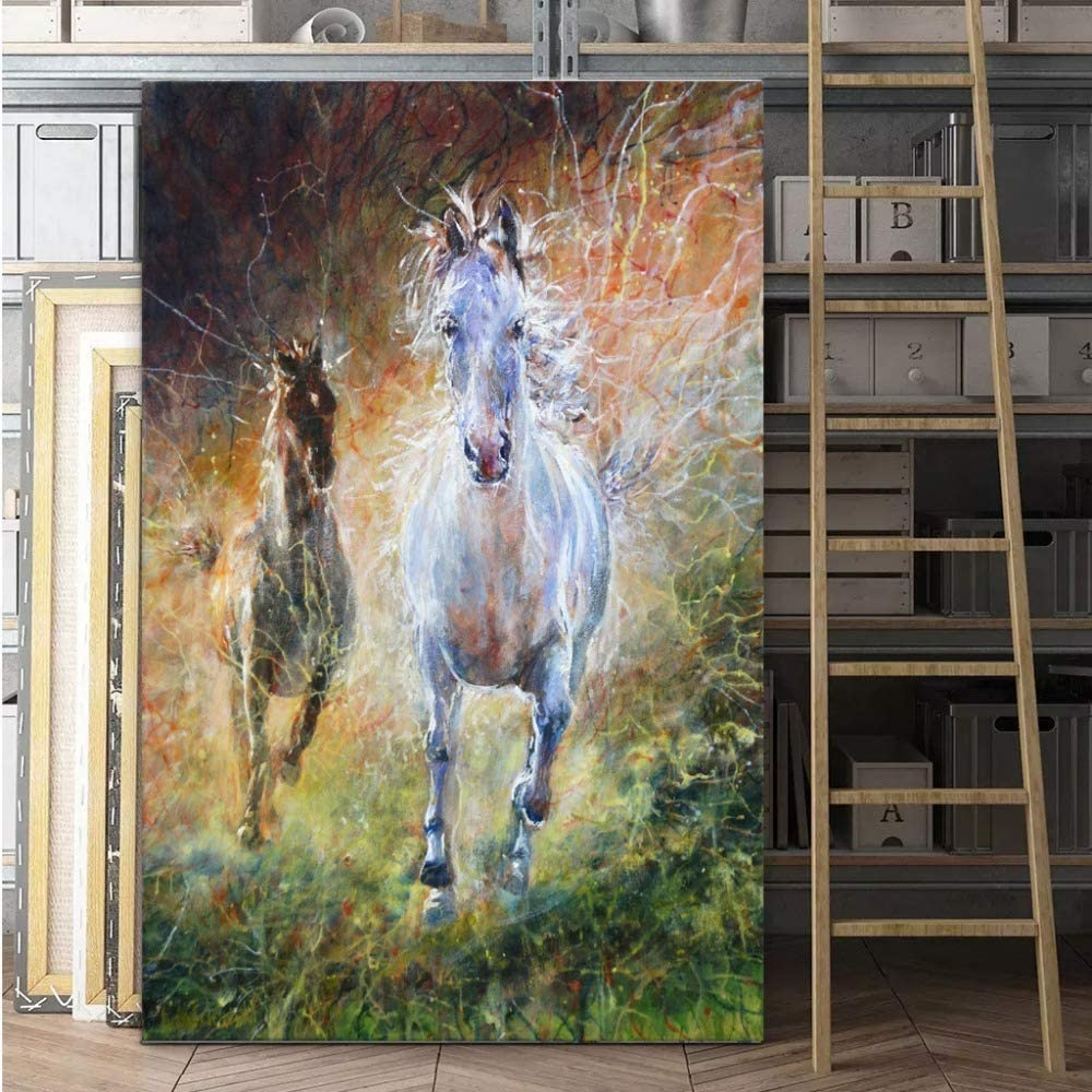LiMengQi Pintura al óleo Lienzo Pluma de Caballo Imagen de Arte ...