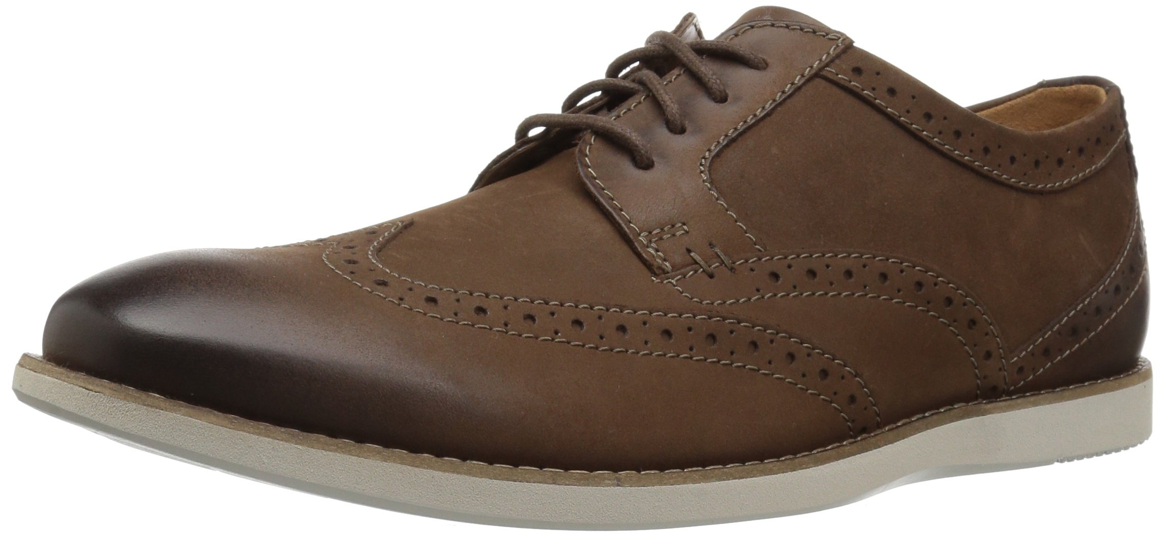 Clarks Men's Raharto Wing Shoe, brown nubuck, 8.5 Medium US