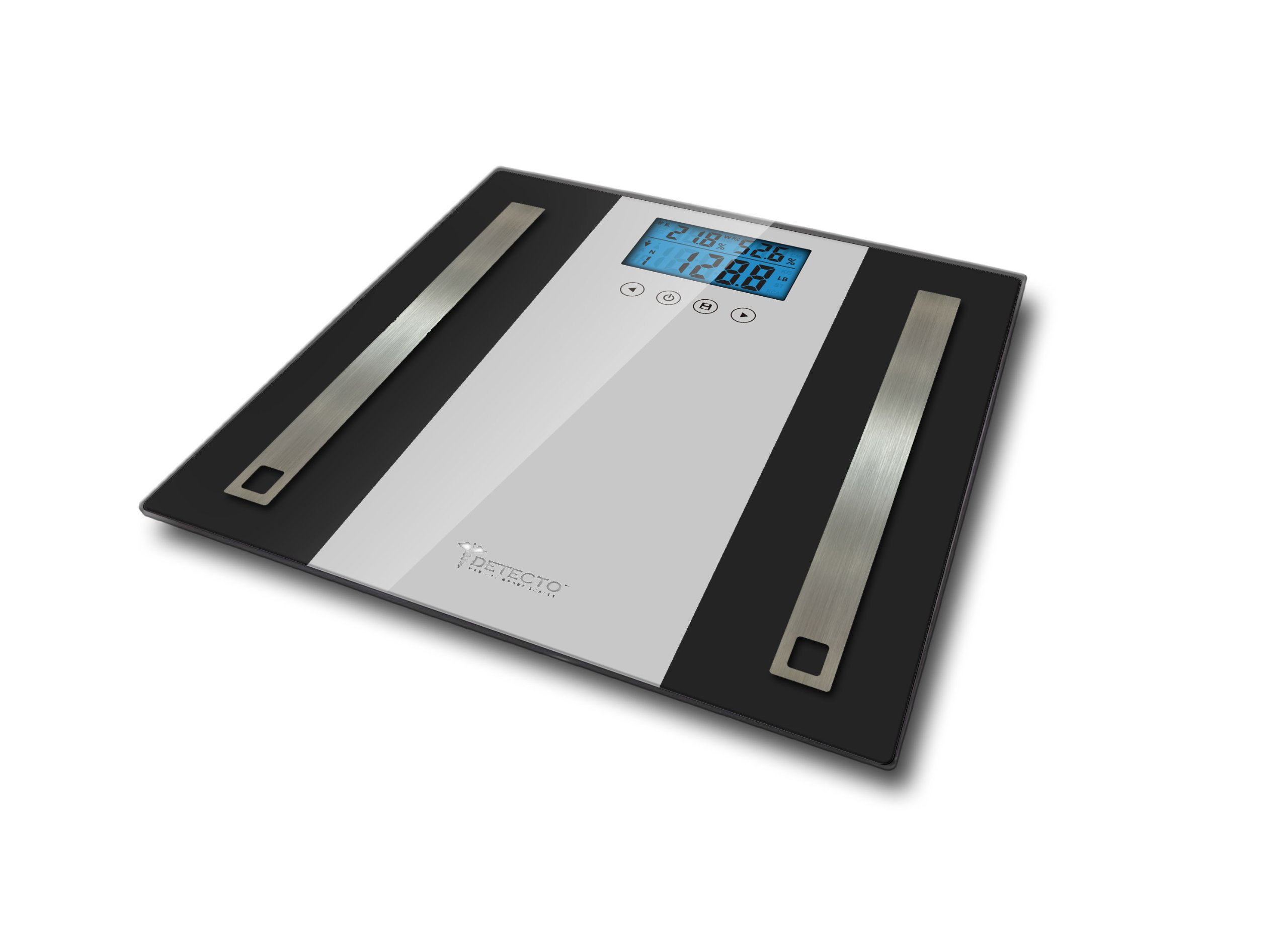 Detecto Glass LCD Digital Body Composition Scale, Black, 4 Count