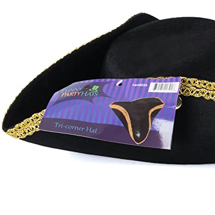 daf6f160 Amazon.com: Revolutionary War Hat - Colonial Hat - Tricorn Hat -  Revolutionary Costumes Funny Party Hats: Clothing