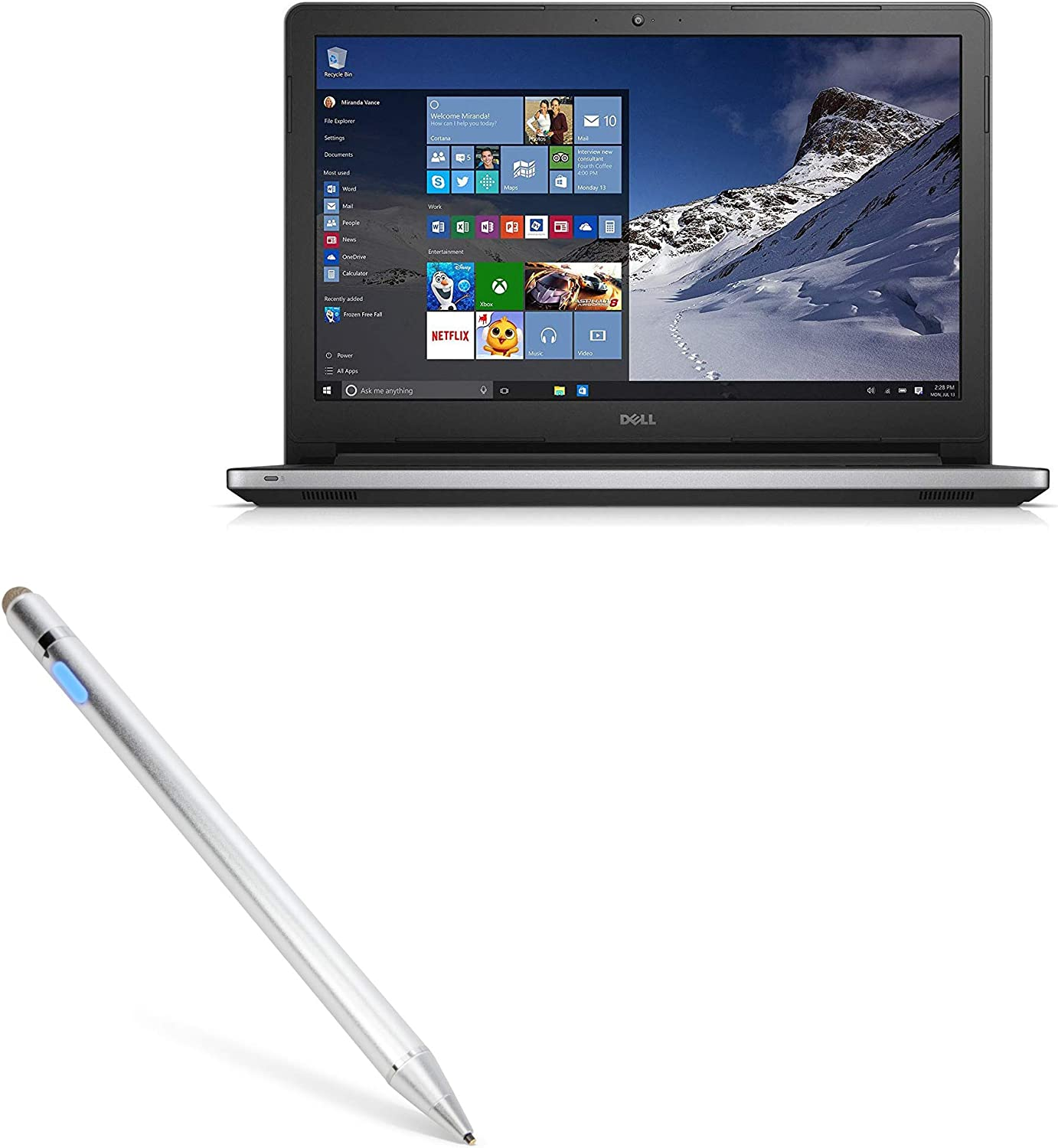 Dell Inspiron 15 5000 with Touchscreen (15 in) Stylus Pen, BoxWave [AccuPoint Active Stylus] Electronic Stylus with Ultra Fine Tip for Dell Inspiron 15 5000 with Touchscreen (15 in) - Metallic Silver