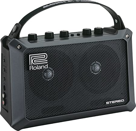 side facing roland mobile cube battery-powered stereo keyboard amp