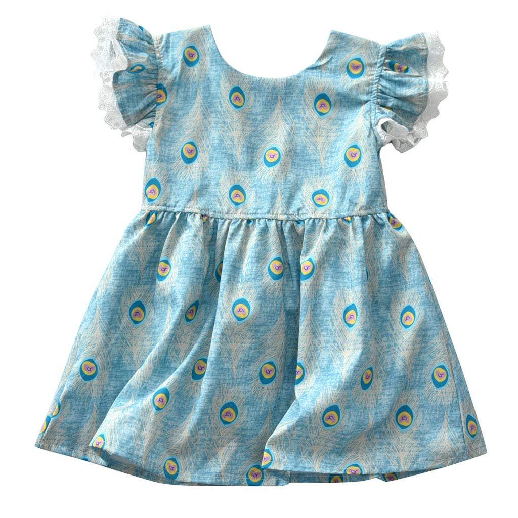 Vestido Las Bebé Niñas Princesa Vestidos Ropa Manga Volante de ...