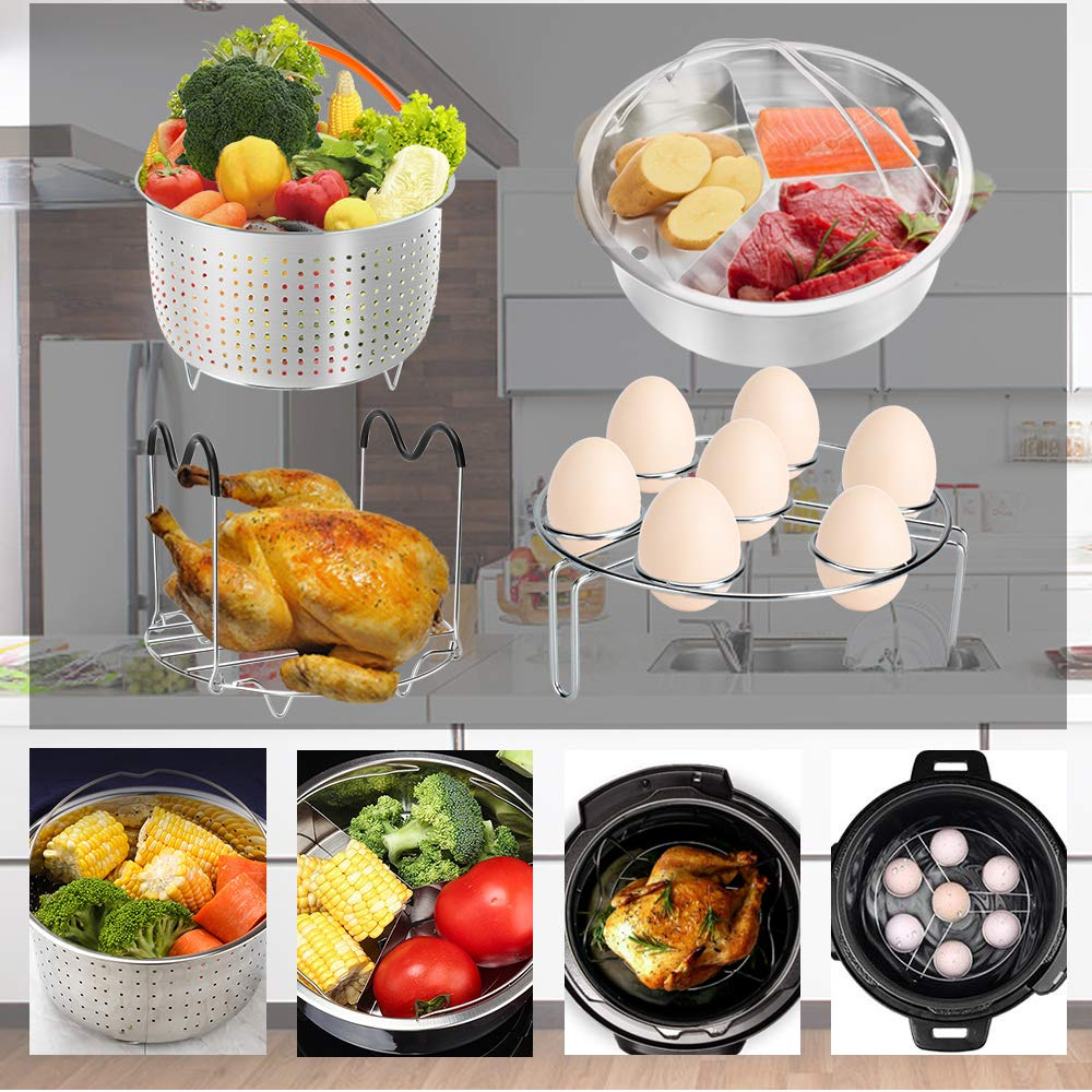 Accessories for Instant Pot, 76 PCS Accessories Compatible with 5/6/8Qt Instant Pot - 2 Steamer Baskets, Steamer Rack, Non-stick Springform Pan, Egg Rack, Egg Bites Mold, Cup Cake Molds and Egg Molds by Alpacasso (Image #2)