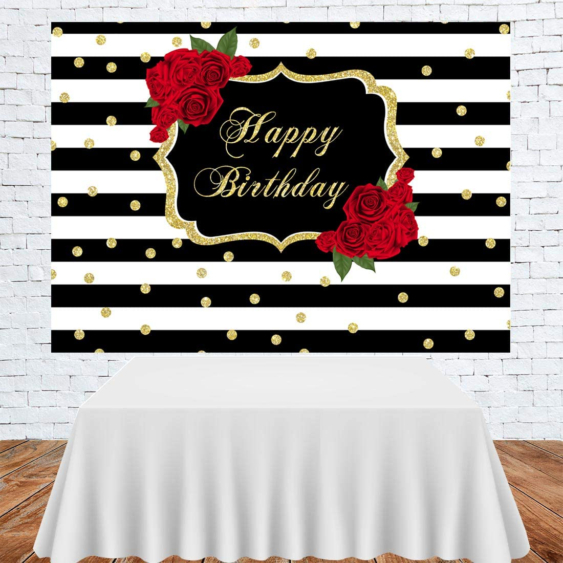 8x6.5ft Happy Birthday Backdrop Black and White Stripes Vinyl Photography Background Red Rose Golden Edge Brand Girls Children Kids Family Party Decor Portrait Shoot Studio Props