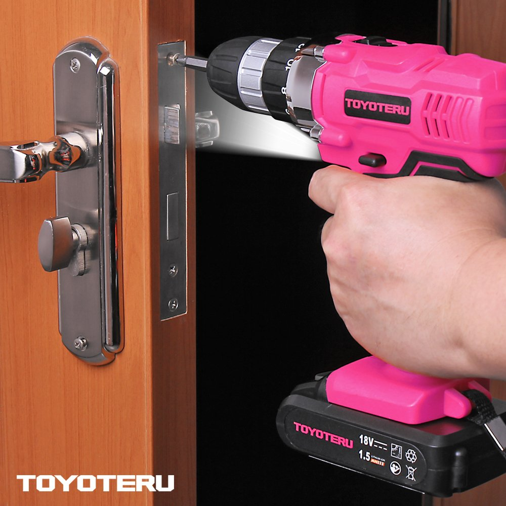 TOYOTERU Powerful 18 Volt Lithium-Ion Cordless Drill Driver Kit Pink Tool for Women- 33PCS Drill Accessory, 2 Gears,1500mAh Battery & Charger in Blow Mold Case by TOYOTERU (Image #4)
