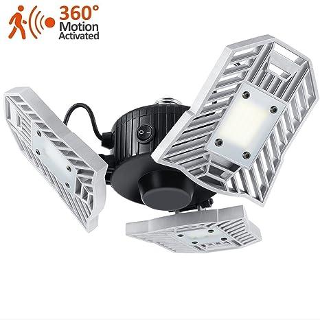 Luces de sensor de movimiento para garaje, 60 W, luz LED de techo abierta