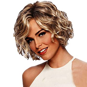 Doinshop Short Curly Wigs For White Women Blonde Wavy Wig Heat Resistant Synthetic Hair Cosplay