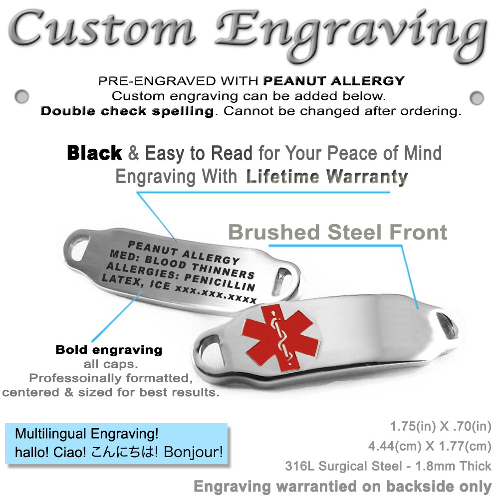 Pre-Engraved /& Customizable Peanut Allergy Toggle Medical ID Bracelet My Identity Doctor Steel Hearts Made in USA Red
