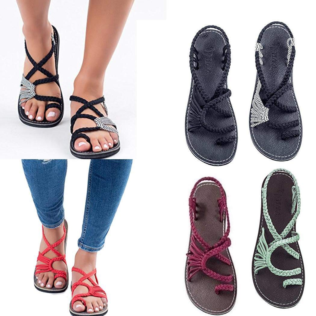 ThinIce Women Fashion Cross Criss Patchwork Weave Sandals Shoes Sandals