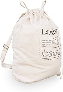Topline Laundry Hamper Bag with Adjustable Drawstring and Carrying Strap - Beige