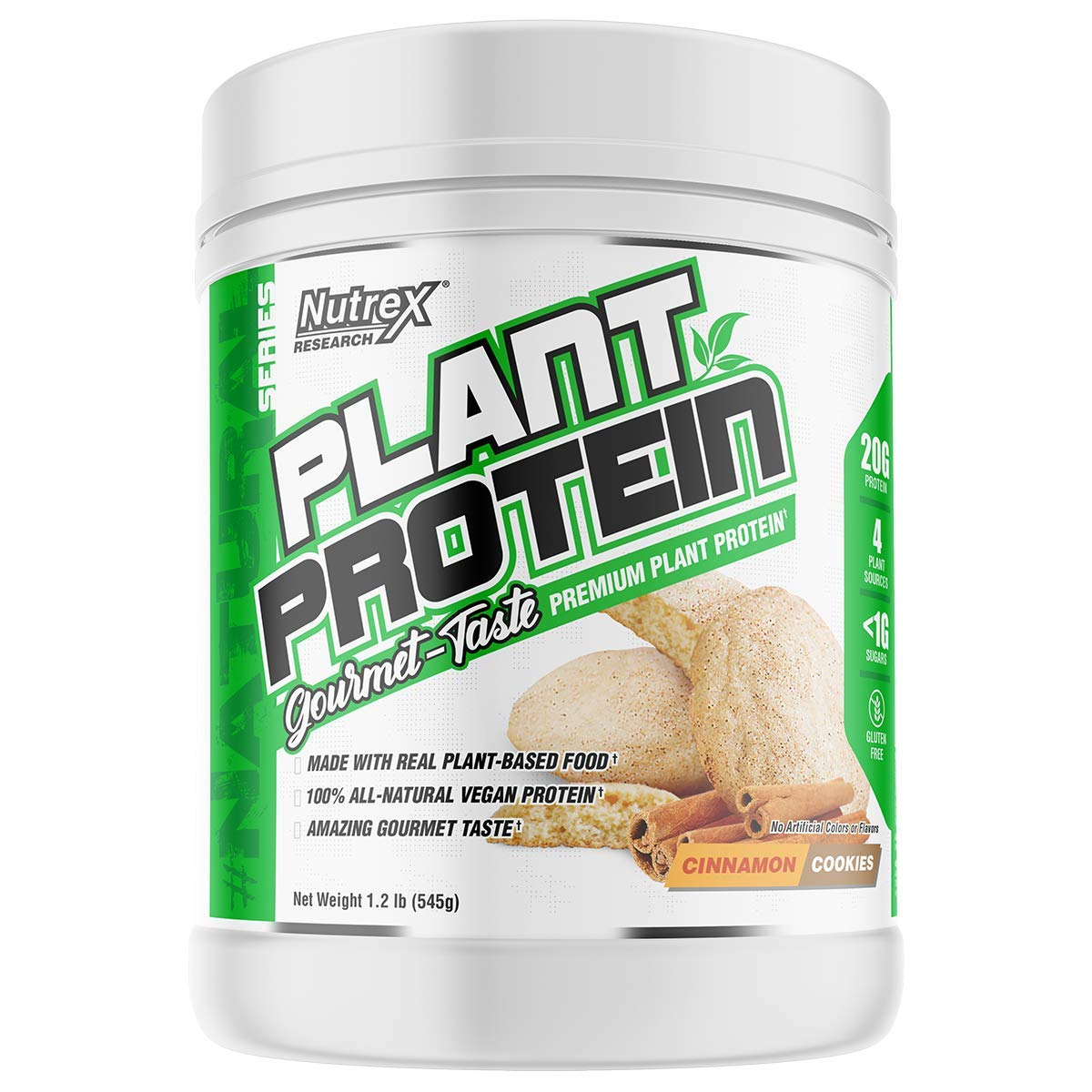 Nutrex Research Plant Protein | Great Tasting Vegan Plant Based Protein | No Artificial Flavors, Colors, or Sweeteners, Gluten Free, Lactose Free | 18 Servings (Cinnamon Cookies)