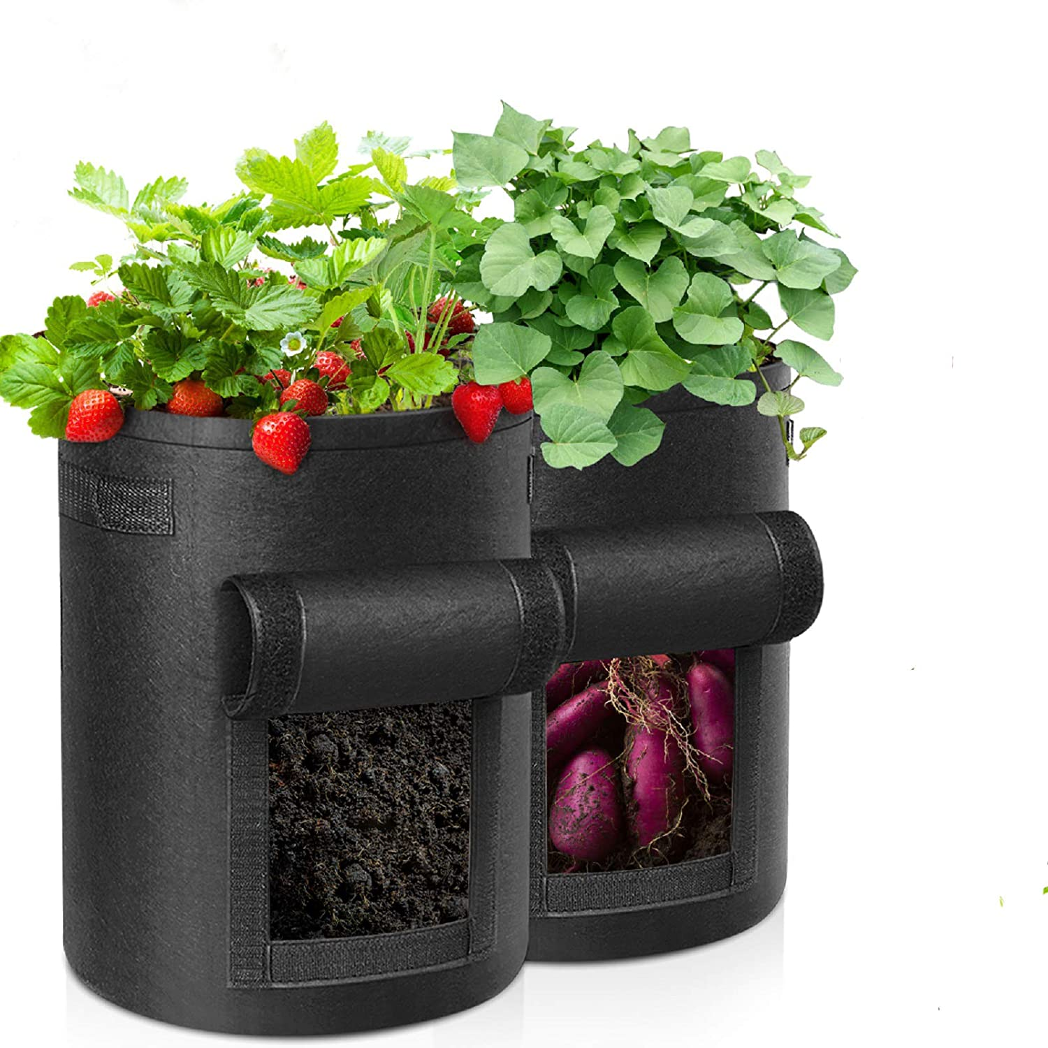 Safe2m Grow Bags, Plant Grow Bags 10 Gallon Heavy Duty Thickened Growing Bags Planting Pots Container Garden Vegetable Planter with Handles & Large Harvest Window