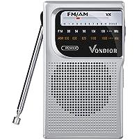 Vondior AM FM Battery Operated Portable Pocket Radio (Silver)