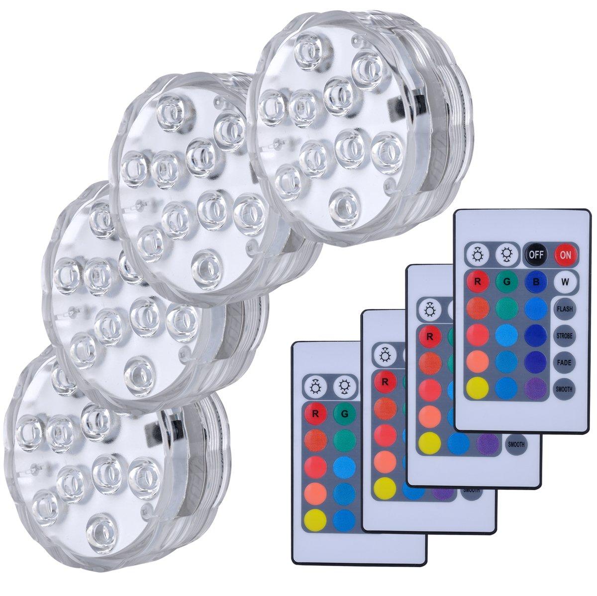 Lumière submersible de LED, Lampes sous-marines LED Éclairage Submersible Multi-couleur avec télécommande Étanche IP68 pour Piscine/Décorations//Fête Lot de 4 hitopin HPUK-LED4