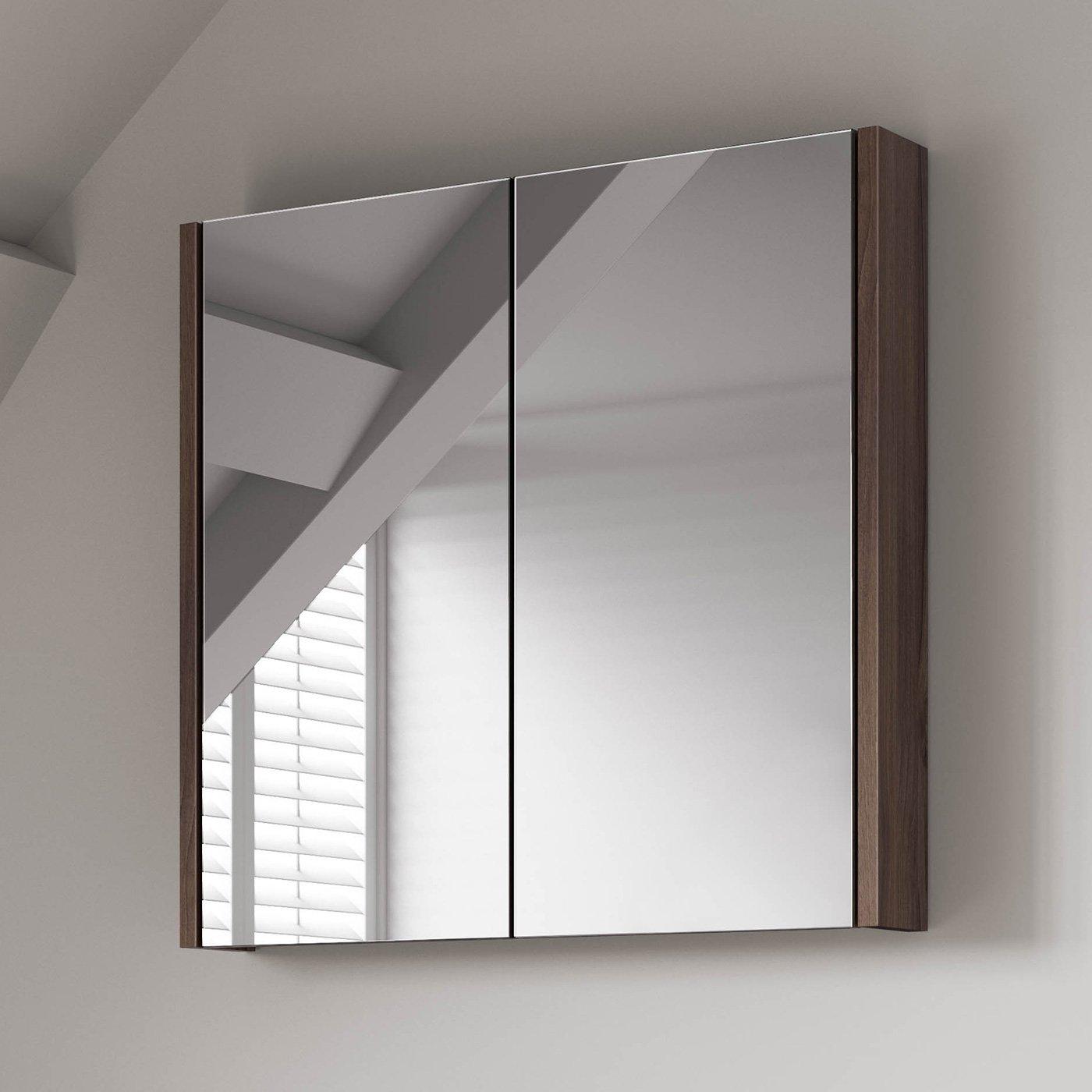 600 x 650 mm Modern Walnut Bathroom Mirror Cabinet Bathroom Furniture iBathUK