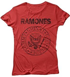 - Offizieles Damen T-Shirt Ramones Strass Siegel Grau