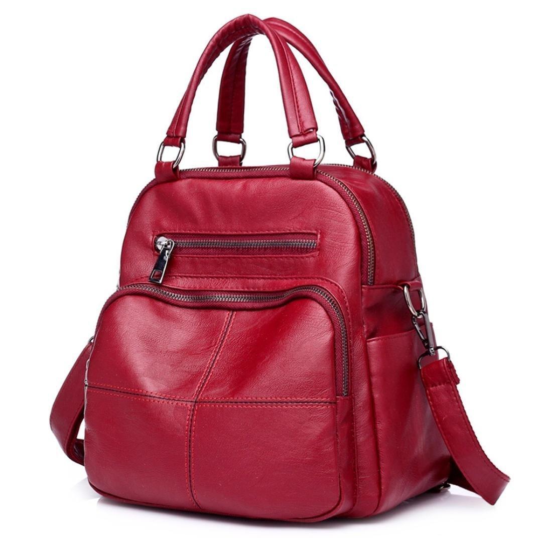 Chartsea Vintage Girl Leather School Bag Backpack Satchel Women Travel Shoulder Bag (Red)