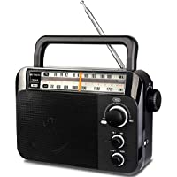 Retekess TR604 AM FM Radio Portable Transistor Analog Radio with 3.5mm Earphone Jack Battery Operated Boombox by 3 D…