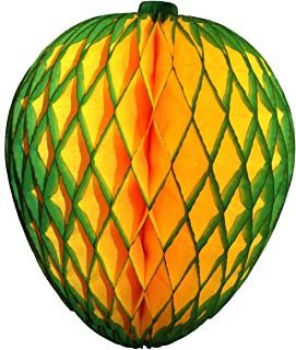 product image for 3-Pack 14 Inch Honeycomb Tissue Paper Mango Fruit Party Decoration (Green Edge)