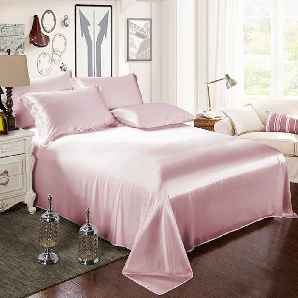 ELLESILK Pure Mulberry Silk Flat Sheet, Silk Bed Sheet, Premium Quality 100% Mulberry Silk, 22 Momme, Soft & Smooth, King/Cal.King Size, Suede Rose