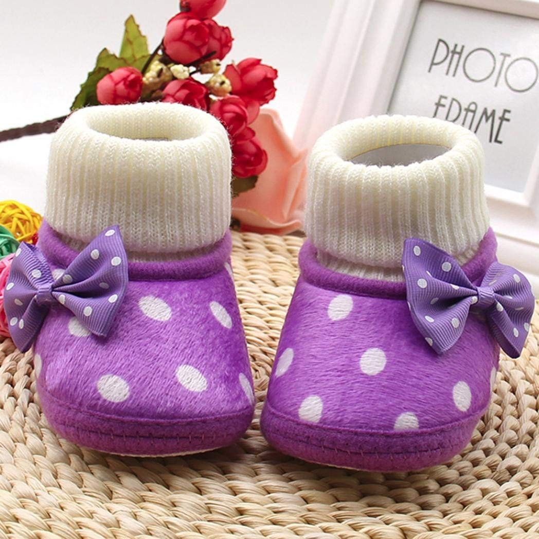 Voberry Cute Baby Infant Girls Bowknot Knit Soft Sole Warm Boots Shoes