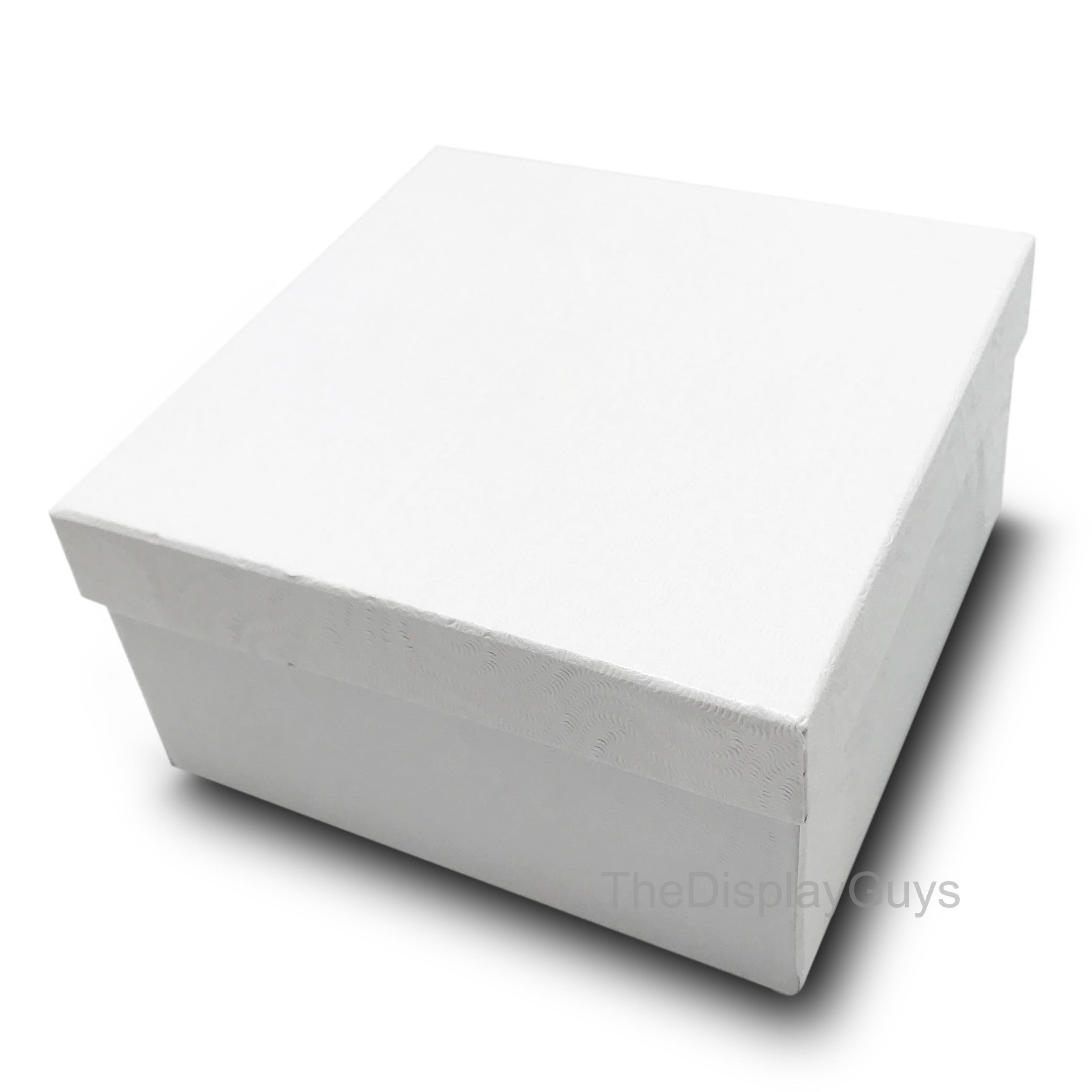 The Display Guys, Pack of 25 White 3 3/4x3 3/4x2 inches Cotton Filled Paper Jewelry Box Gift Display Case (#34)