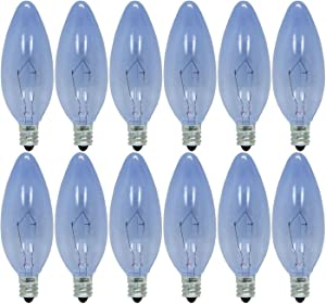 GE Lighting 48714 60-Watt 490-Lumen Reveal Blunt Tip Light Bulb with Candelabra Base, 12-Pack.