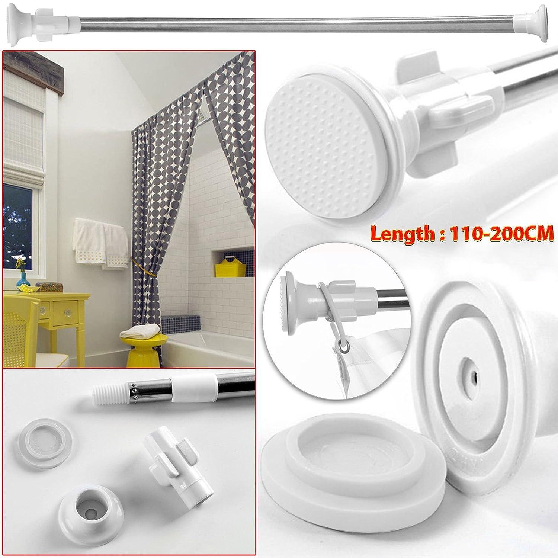 Safekom, asta estendibile e telescopica, per tende, in acciaio, ideale per finestre, doccia e vasca da bagno, 70-120cm