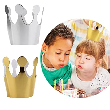 10pcs Paper Kids Adult Birthday Hats Cap Crown Prince Princess Party Decoration