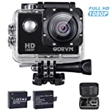 Full HD 1080P Action Camera, ODRVM Motorcycle Helmet Camera with 2 Free Batteries, Handbag and 19 Accessories Kits for Car, Kids, Cycling, Bike, Airsoft, Guns, Drone