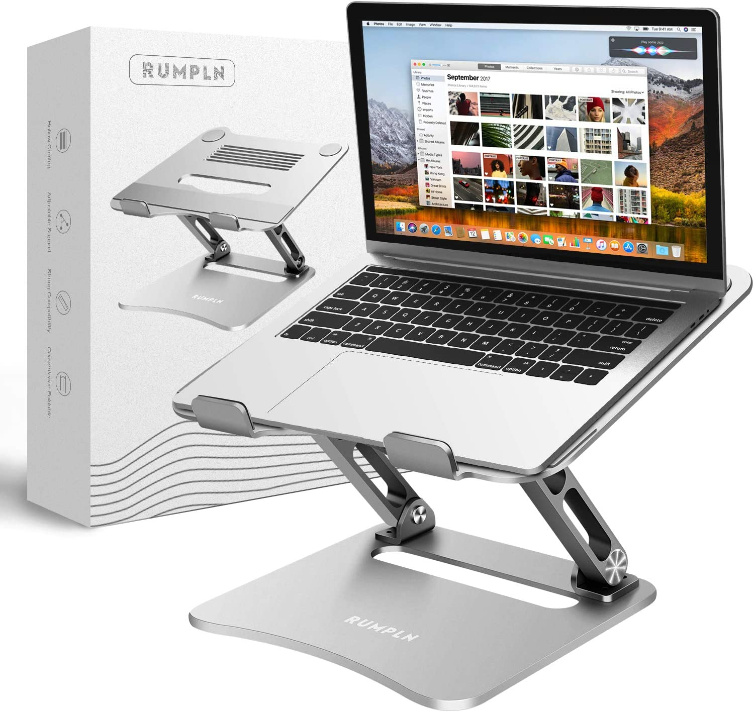 Adjustable Laptop Stand, Laptop Holder, Laptop Riser with Heat-Vent to Elevate, Compatible with MacBook, Air, Pro, Dell XPS, Samsung, Alienware, All laptops 10-17.5 inches, up to 45 Lbs-Silver