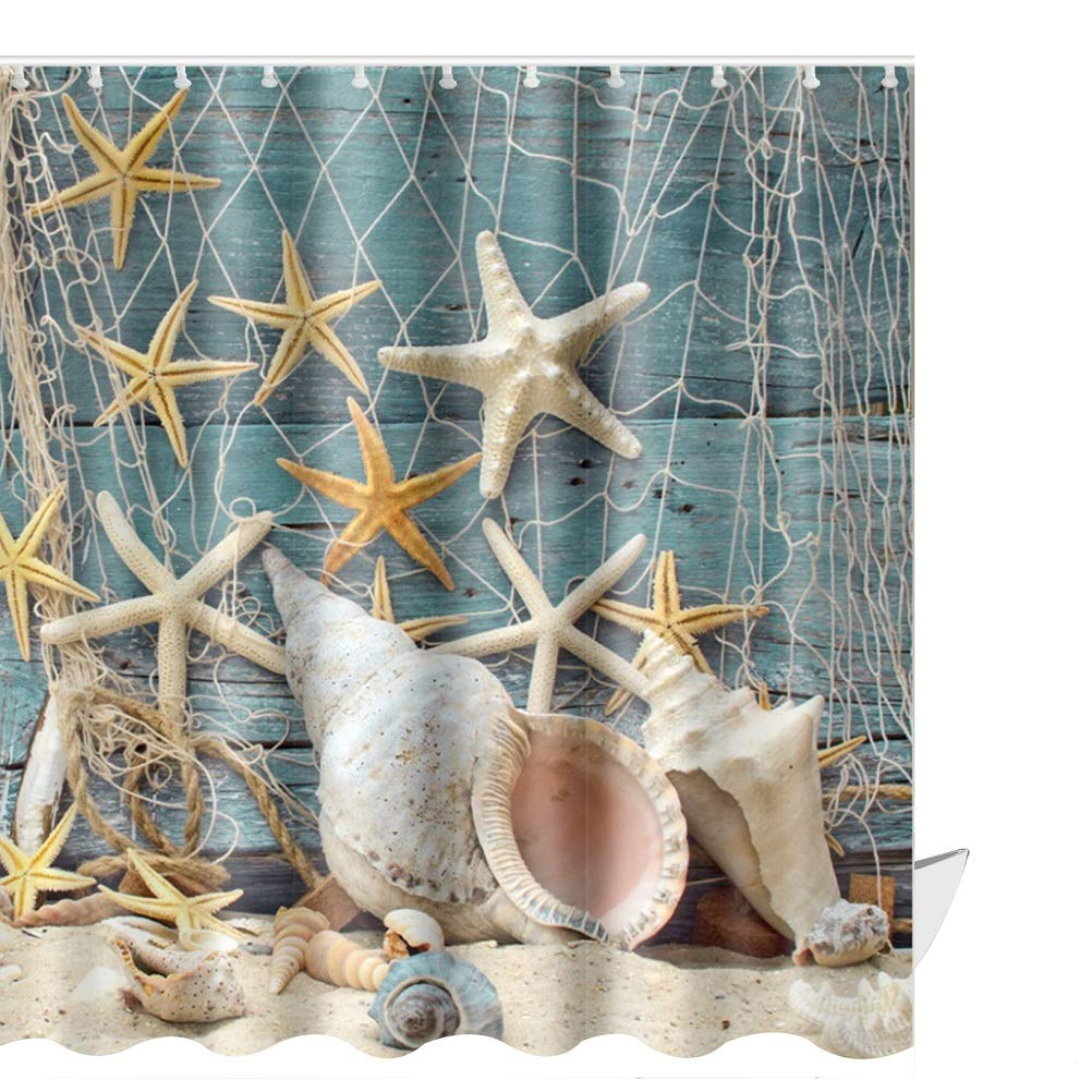1 Bathroom Shower Curtains And Matching Accessories Review ABxinyoule Seashell Conch Starfish Shell Curtain Set Fishing Nets Beach Ocean Wooden