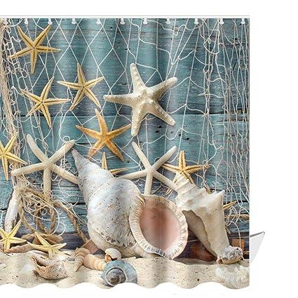 Amazon ABxinyoule Seashell Beach Shower Curtain Set Conch