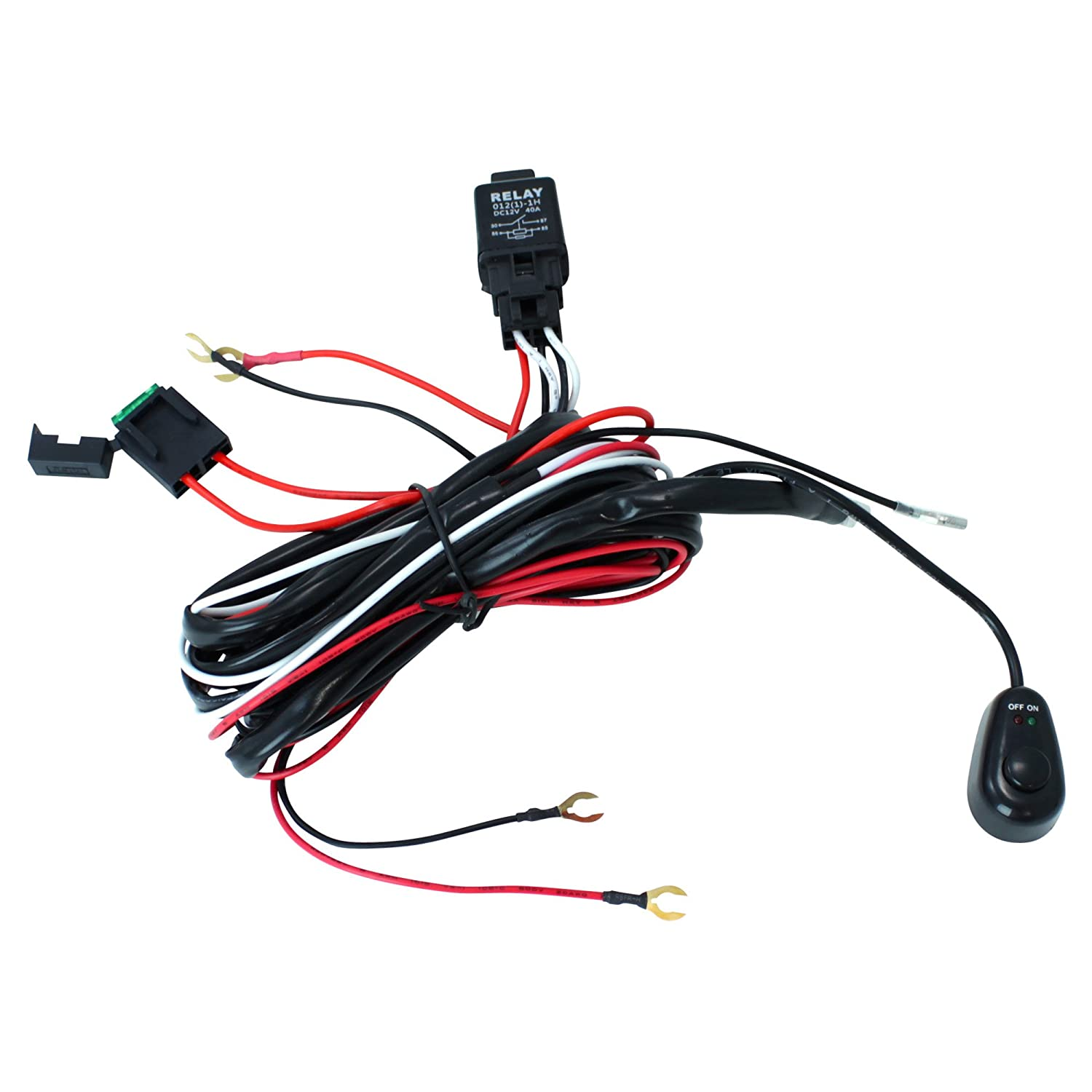71ONjFALDCL._SL1500_ amazon com dt moto™ off road atv jeep led light bar wiring mictuning wiring harness installation at bayanpartner.co